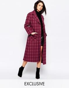 Ягодное пальто в клетку с пуговицами и поясом Helene Berman - Ягодный в клетку