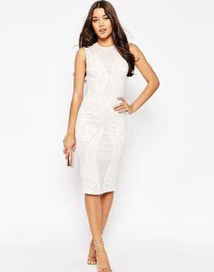 Облегающее платье миди с кружевной вставкой ASOS Premium - Белый