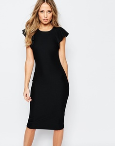 Платье миди с рукавами-оборками Y.A.S Alice - Черный