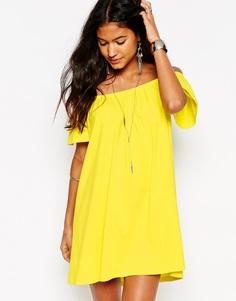 Платье мини с открытыми плечами ASOS Gypsy - Желтый