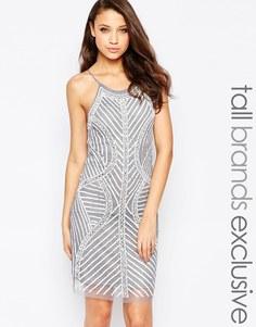 Цельнокройное платье с бретельками и отделкой True Decadence Tall - Серый