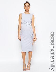 Облегающее платье миди для беременных с узлом сбоку ASOS Maternity - Сиреневый