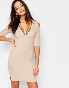 Облегающее платье на молнии с открытыми плечами Daisy Street - Телесный