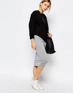 Трикотажная юбка миди Boohoo - Серый меланж