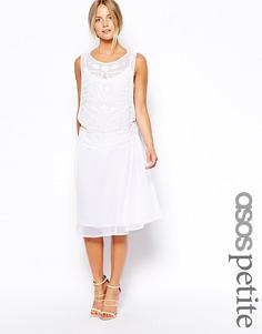Свободное платье миди с отделкой эксклюзивно для ASOS PETITE - Белый