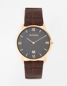 Часы с коричневым ремешком Sekonda - Коричневый
