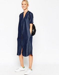 Джинсовое платье на молнии ASOS WHITE - Синий