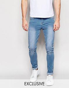 Светлые супероблегающие эластичные джинсы Liquor & Poker - Легкий стираный эффект