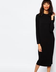 Oversize-платье с высоким воротом Monki - Черный
