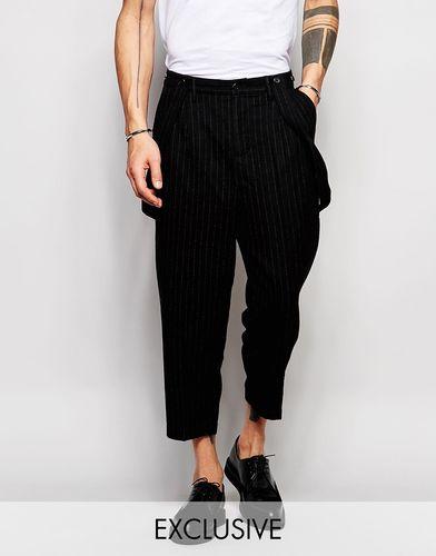 Шерстяные брюки с заниженным шаговым швом и подтяжками Black Eye Rags - Черный