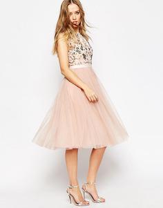 Платье миди с юбкой из тюля и цветочной отделкой Needle & Thread - Розовое цветение