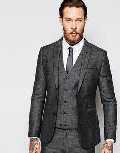 Твидовый супероблегающий пиджак ASOS - Серый