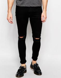 Черные джинсы скинни с разрезами на коленях Hoxton Denim - Черный
