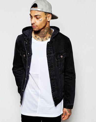Черная джинсовая куртка с капюшоном ASOS - Черный