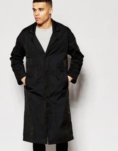 Черное пальто свободного кроя ASOS - Черный