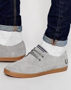 Низкие замшевые кроссовки Fred Perry Byron - Серый