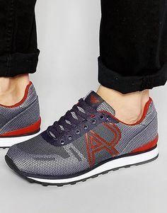 Беговые кроссовки с логотипом Armani Jeans - Синий