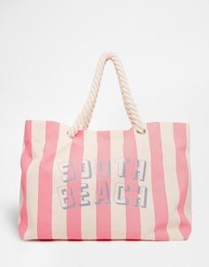 Розовая пляжная сумка с полосками и веревочными ручками South Beach - Розовый