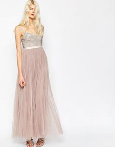 Платье макси с тюлевой юбкой Needle & Thread Coppelia - Пыльно-сиреневый
