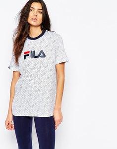 Oversize-футболка бойфренда с логотипом и сплошным принтом Fila