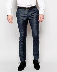Стретчевые брюки скинни в шотландскую клетку Noose & Monkey - Темно-синий
