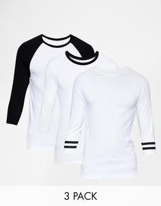 3 футболки с контрастными рукавами реглан длиной 3/4 ASOS -