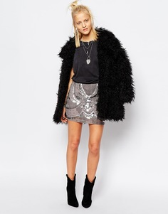 Мини-юбка с отделкой бисером и пайетками Religion - Темно-серый меланж