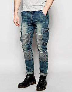 Байкерские зауженные джинсы с карманами карго Underated - Умеренно-синий стираный деним