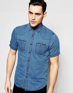 Рубашка джинсовой расцветки с короткими рукавами Tokyo Laundry - Синий