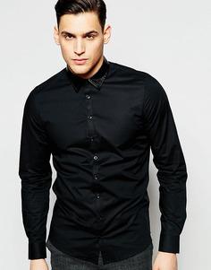 Рубашка слим с воротником из искусственной кожи Vito - Черный