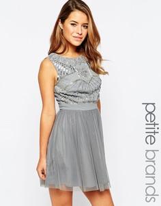 Приталенное платье с тюлевой юбкой Maya Petite - Серый