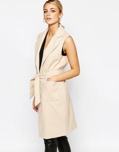 Пальто без рукавов с поясом Boohoo - Stone