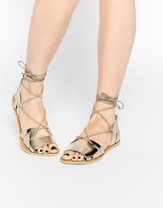 Кожаный сандалии со шнуровкой ASOS FUERTA - Металлик