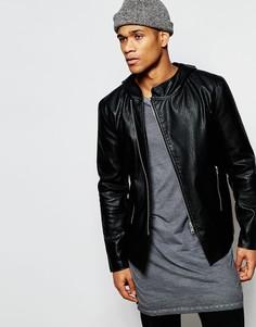 Черная куртка из искусственной кожи с капюшоном ASOS - Черный