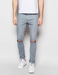 Светло-синие супероблегающие джинсы с рваными коленками ASOS - Citadell