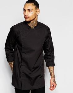 Удлиненная ассиметричная рубашка с длинными рукавами ASOS - Черный