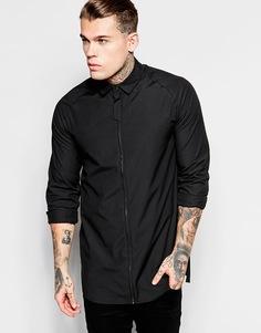 Рубашка классического кроя на сквозной молнии ASOS - Черный
