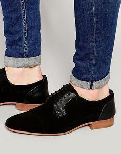 Черные замшевые туфли дерби с кожаными вставками ASOS - Черный