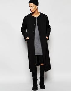 Ультраудлиненное легкое пальто черного цвета без воротника ASOS - Черный