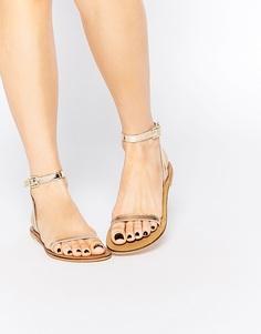 Кожаные сандалии ASOS FINLAY - Золотой