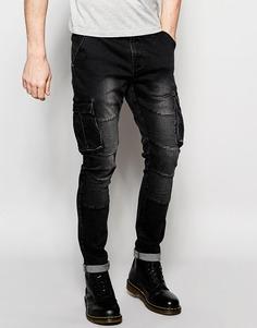 Байкерские зауженные джинсы с карманами карго Underated - Черный стираный деним