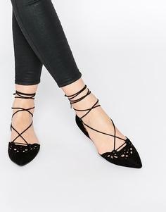Черные кожаные туфли на плоской подошве со шнуровкой ALDO Harmony Ghillie - Черный