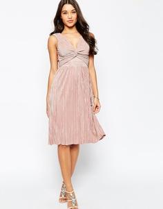 Плиссированное платье миди с перекрученной отделкой спереди ASOS - Мульти