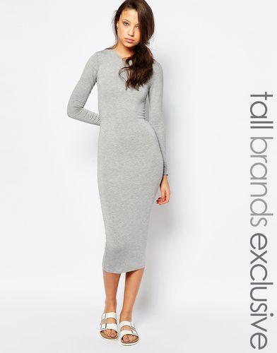 Облегающее платье миди с длинными рукавами TTYA - Серый