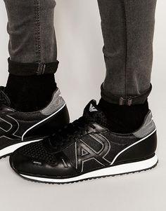 Кроссовки из сетки с логотипом Armani Jeans - Черный