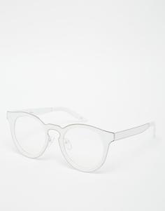 Серебристые круглые очки с прозрачными стеклами Jeepers Peepers - Белый
