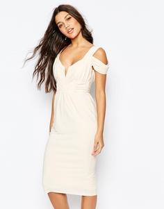 Платье-футляр миди с вырезами на плечах ASOS - Stone