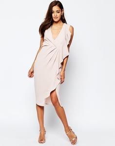 Платье-футляр миди с рюшами спереди ASOS - Mink