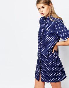 Платье-рубашка в горошек Fred Perry - Темно-синий