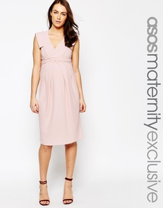 Приталенное платье с запахом для беременных ASOS Maternity - Телесный